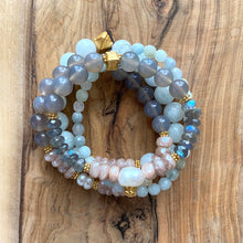 Load image into Gallery viewer, Peach Moonstone, Labradorite and Pearl Spring Bracelet