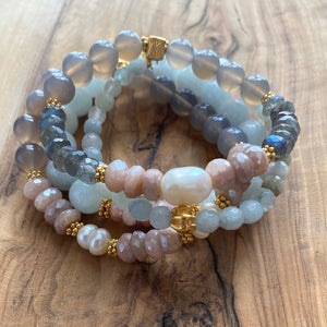 Peach Moonstone, Labradorite and Pearl Spring Bracelet