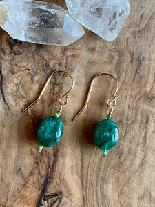 Petite Emerald and Green Tourmaline Earrings