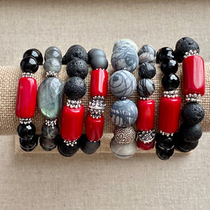 Black Tourmaline and Coral Bracelet