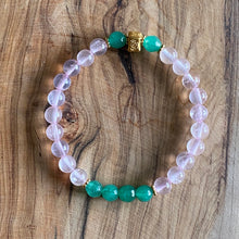 Load image into Gallery viewer, Aventurine and Rose Quartz Bracelet Set