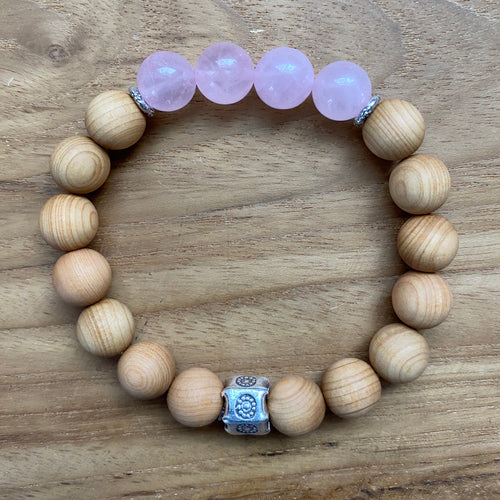Rose Quartz and Sandalwood Bracelet ~ On Sale!