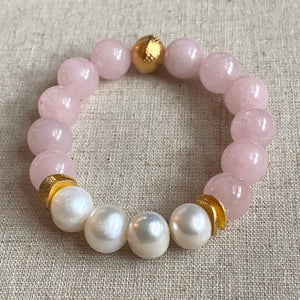 The Michelle: Rose Quartz and Fresh Water Pearls Bracelet