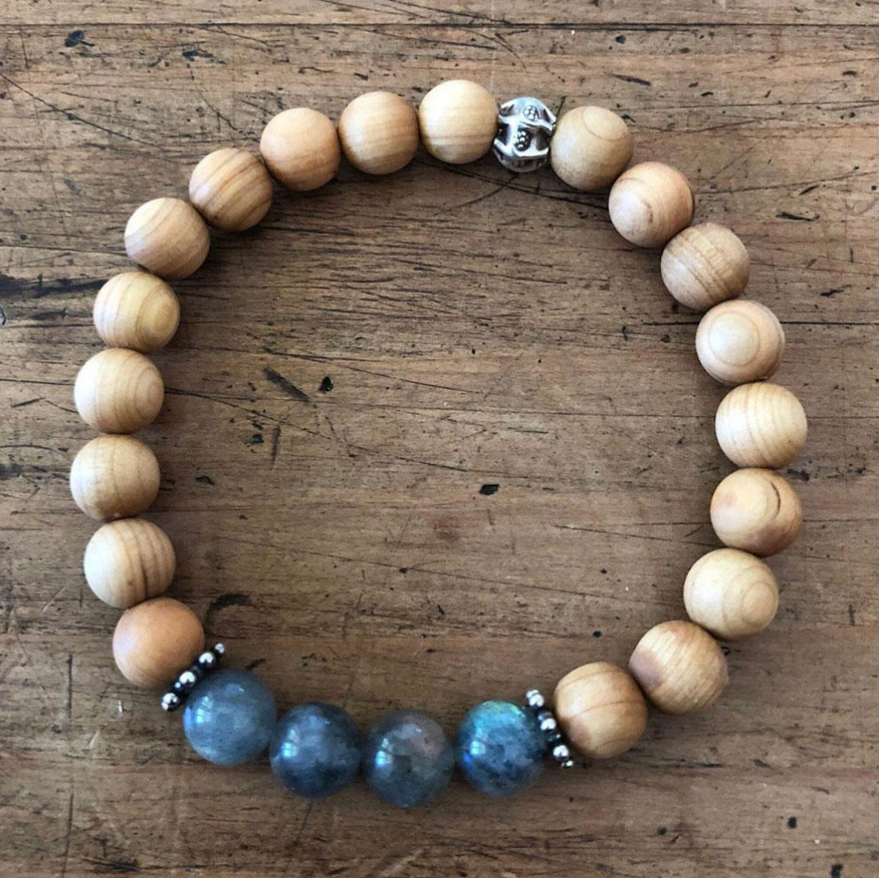 Labradorite and Sandalwood Bracelet