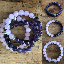 Load image into Gallery viewer, Dark Amethyst and Rose Quartz Bracelet