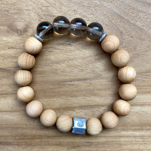 Smoky Quartz and Sandalwood Bracelet