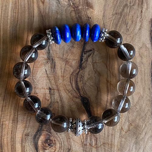 Smoky Quartz and Lapis Lazuli Bracelet ~ 20% Off BFCM SALE!