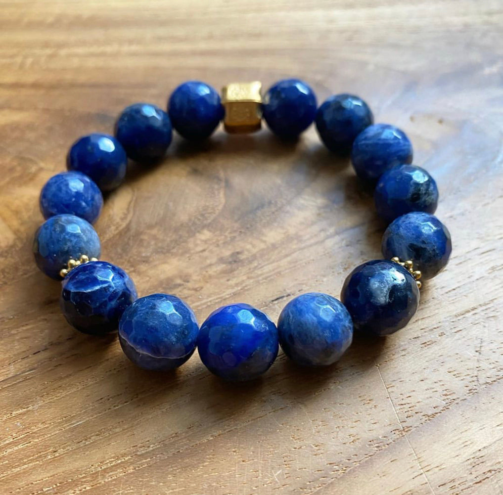 Sodalite and 24K Gold Vermeil Bracelet