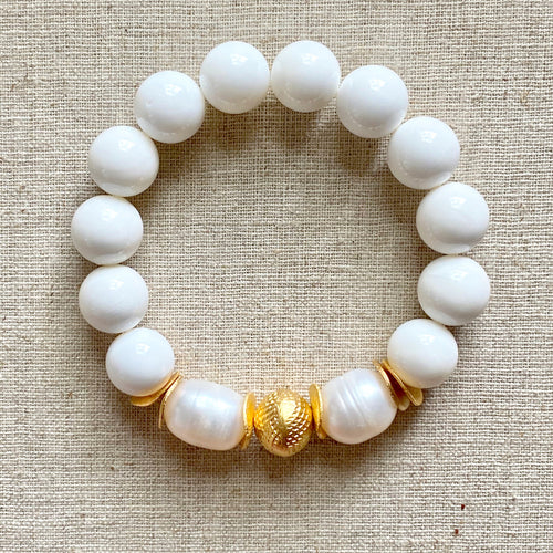The Kate: Tridacna and Baroque Pearls Bracelet