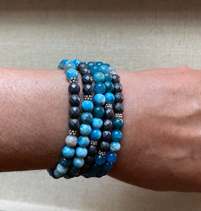 The Kelly: Apatite and Hematite Wrap Bracelet