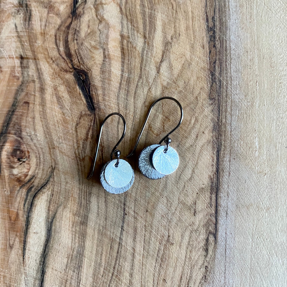 Simple Two-Tone Silver Disc Earrings