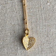 Load image into Gallery viewer, Diamond Pave Heart Charm Necklace ~ 30% OFF!
