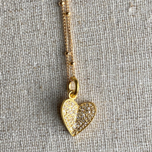 Diamond Pave Heart Charm Necklace ~ 30% OFF!