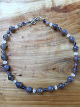 Load image into Gallery viewer, Gray Chalcedony, Rainbow Moonstone, Lolite, and Swarovski Crystal Necklace