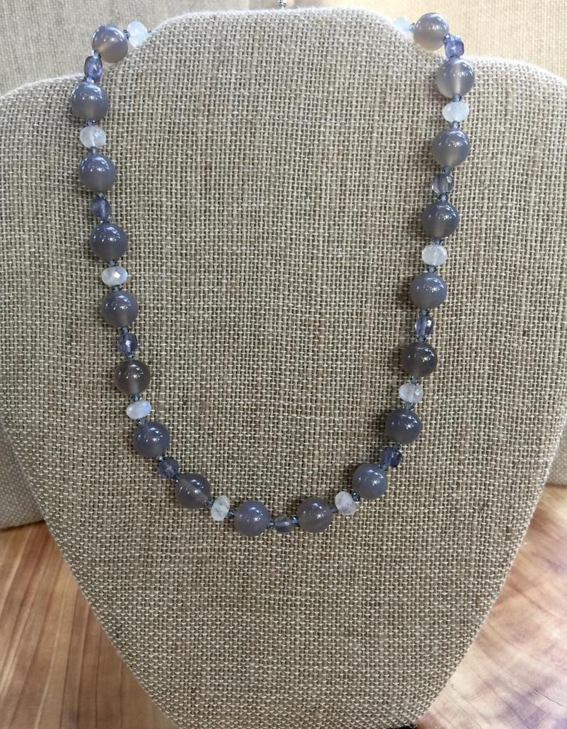 Gray Chalcedony, Rainbow Moonstone, Lolite, and Swarovski Crystal Necklace