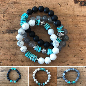 Black Onyx and Natural AZ Turquoise Bracelet with Sterling Silver Bead