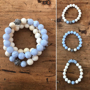 Tridacna and Blue Lace Agate Bracelet