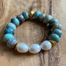 Load image into Gallery viewer, The Solange: Fire Agate + Fresh Water Baroque Pearls Bracelet