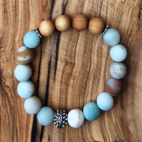 Amazonite & Sandalwood Bracelet
