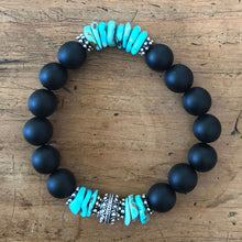 Load image into Gallery viewer, Arizona Turquoise Santa Fe Bracelet with Matte Onyx
