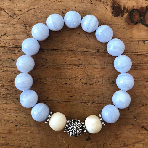 Blue Lace Agate and Tridacna Bracelet with Sterling Silver Beads