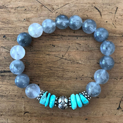 Gray Quartz and Natural AZ Turquoise Bracelet with Sterling Silver Beads