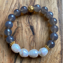 Load image into Gallery viewer, Fresh Water Pearls and Gray Chalcedony Stacked Bracelets