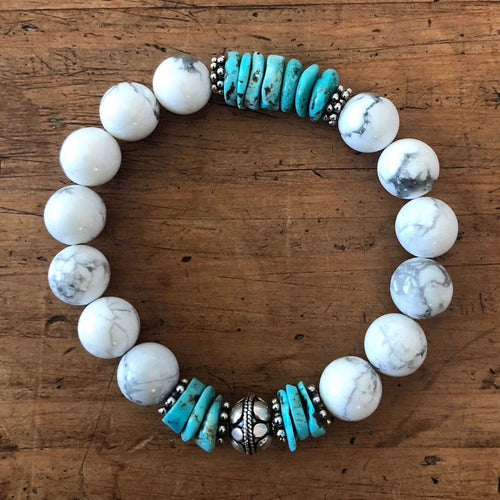 Howlite and Natural AZ Turquoise Bracelet