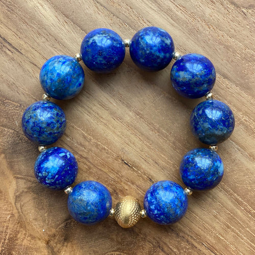 Lapis Lazuli Bracelet with Gold Bead and Spacers