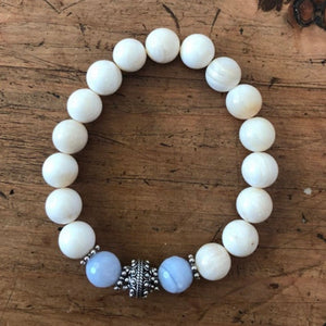 Blue Lace Agate with Tridanca Bracelet Stack