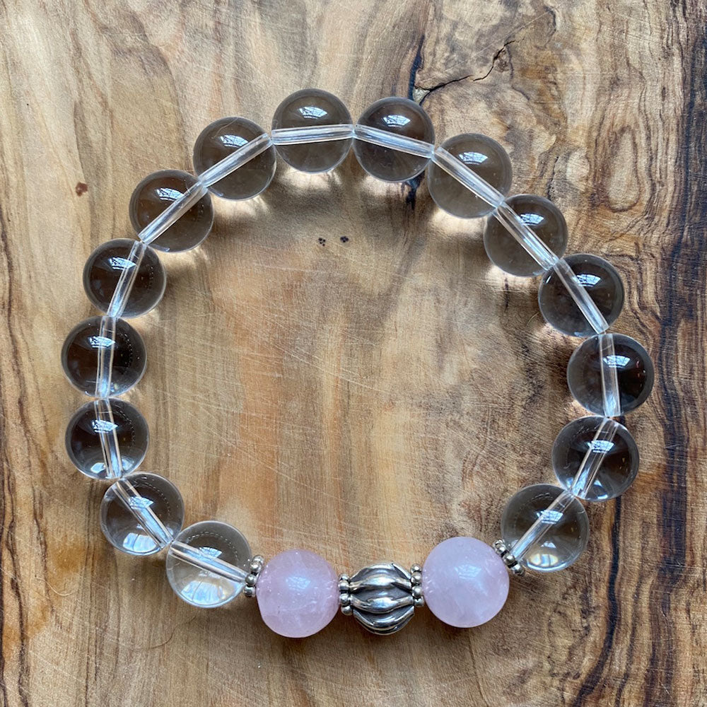 In This Together Bracelet: Clear Crystal and Rose Quartz