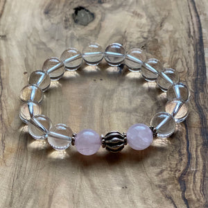 In This Together Bracelet Set: Clear Crystal and Rose Quartz Beads