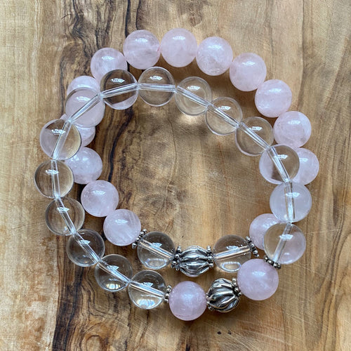 In This Together Bracelet Set: Clear Crystal and Rose Quartz ~ On Sale!