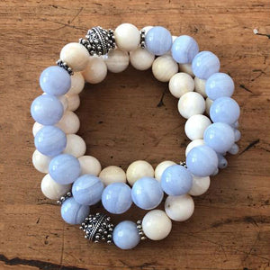 Blue Lace Agate with Tridacna Bracelet Set ~ Over 30% OFF