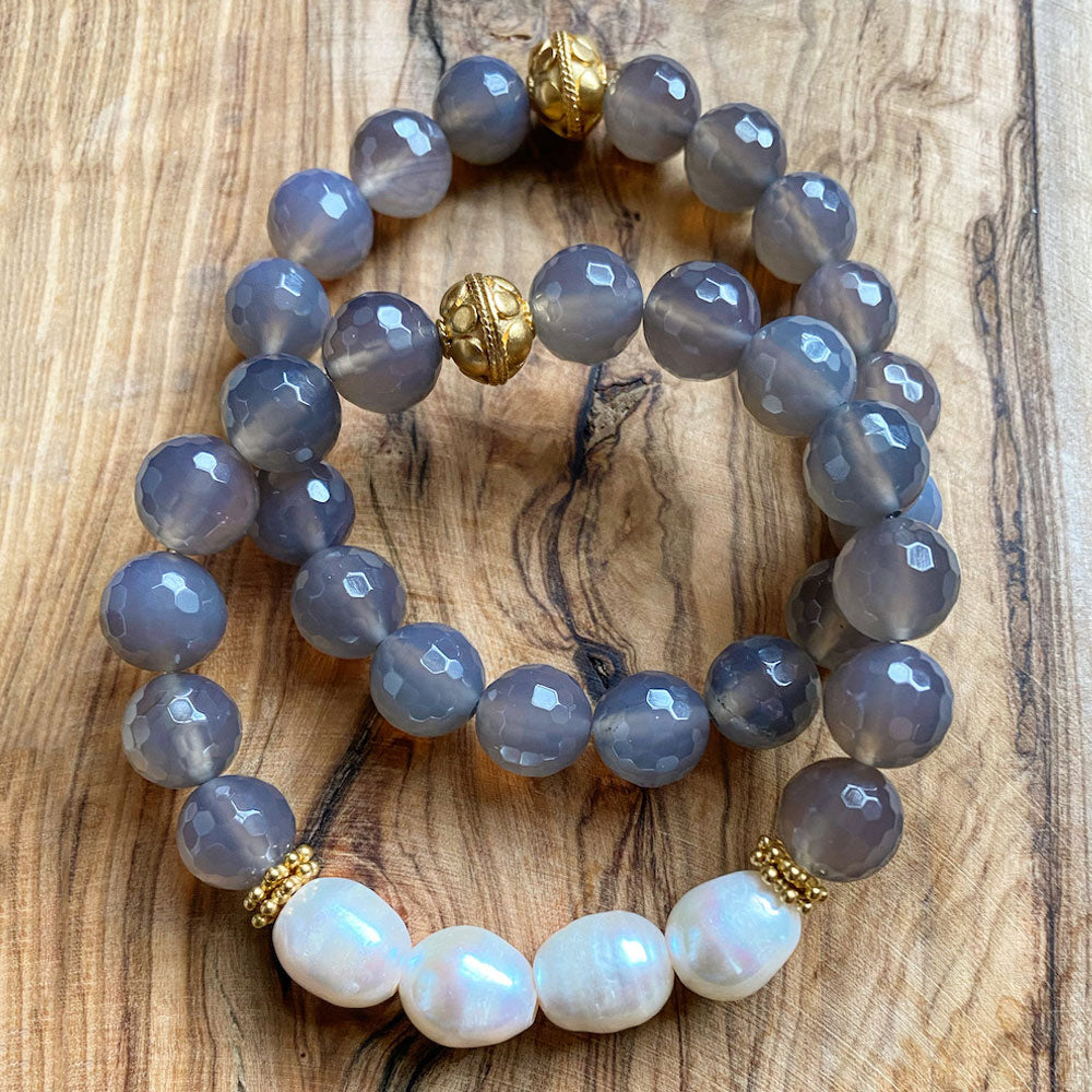 Fresh Water Pearls and Gray Chalcedony Stacked Bracelets