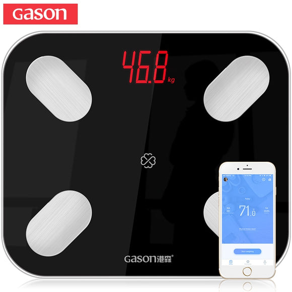 GASON S4 Body Fat Scale Floor Scientific Smart Electronic LED Digital Weight Bathroom Balance Bluetooth APP Android or IOS - makofis