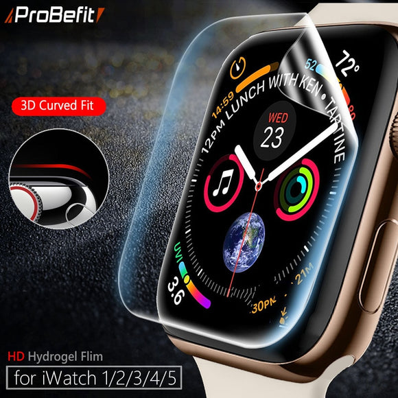 Screen Protector Clear Full Coverage Protective Film for iWatch 4 5 40MM 44MM Not Tempered Glass for Apple Watch 3 2 1 38MM 42MM - makofis