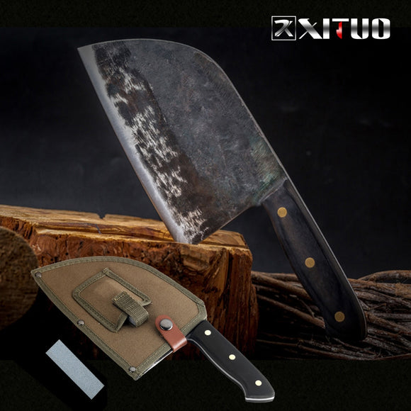 Vintage Full Tang Chef Knife - Handmade Forged in High-carbon Clad Steel - Butcher knife. - makofis