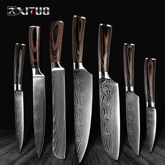 High-Quality Chef Knives Damascus steel 7 kitchen Knives Set - Makes Great Gift! - makofis