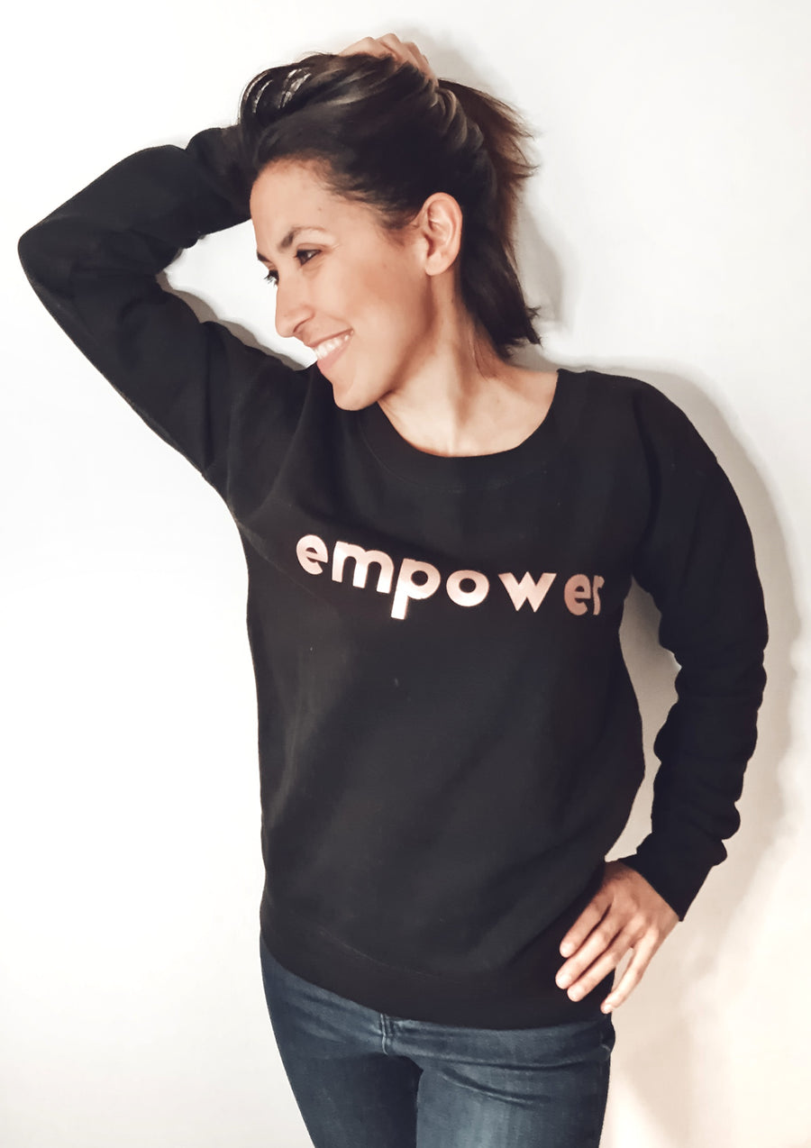 Super Mumma Black Jumper with Rose Gold Empower