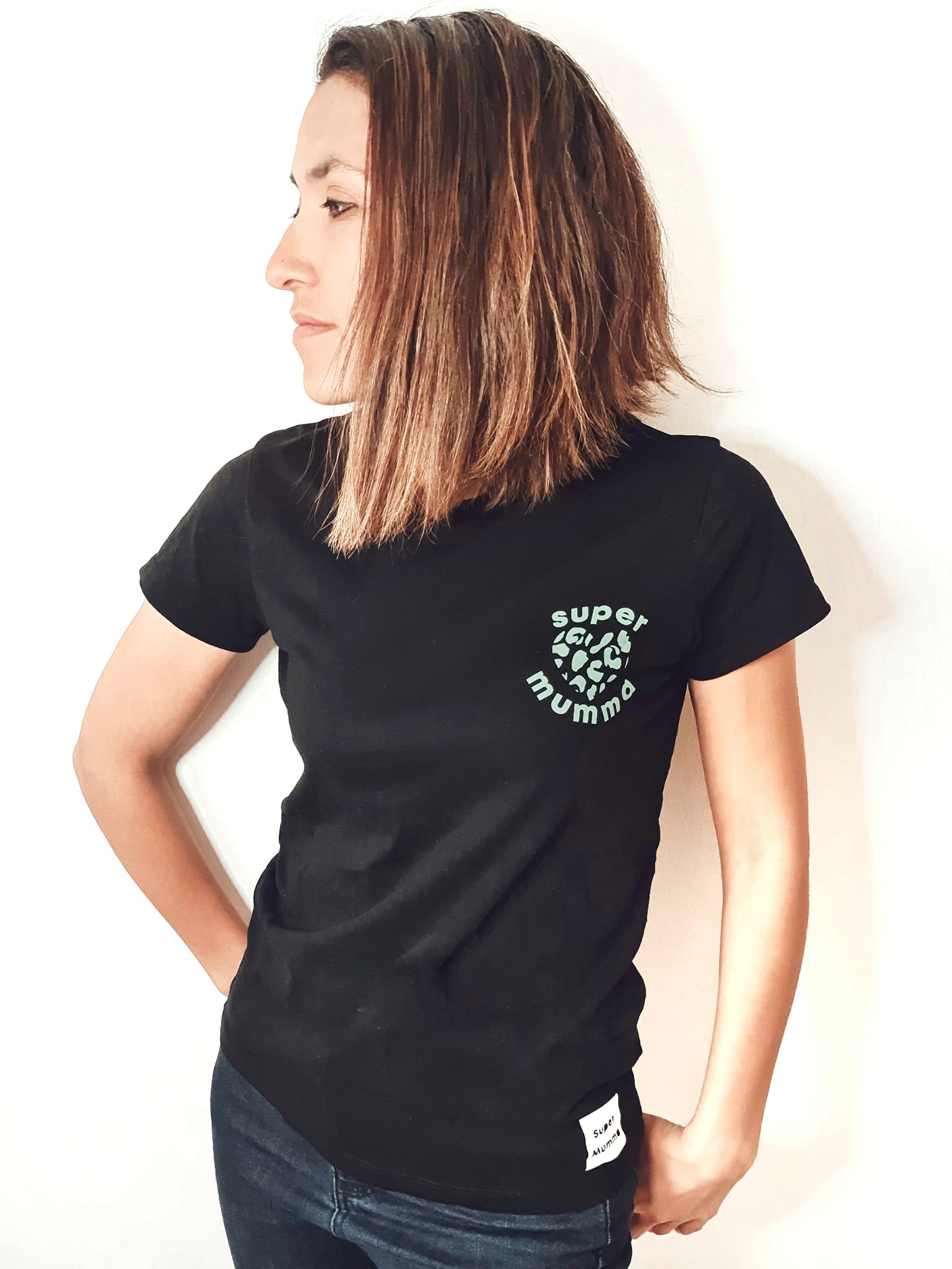 Super Mumma Organic Cotton Short Sleeve Tshirt with Mint Green Animal Print Heart to empower mums to feel super