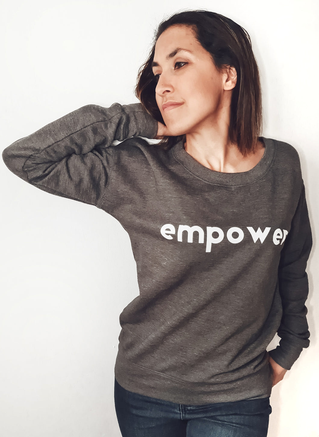 Super Mumma Grey Jumper with White Empower to help mums feel positive and empowered