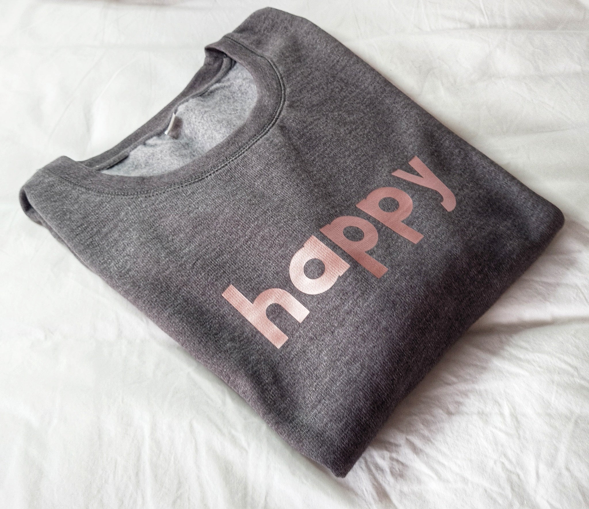 Super Mumma Charcoal Grey Soft Lined Jumper with Rose Gold Happy Slogan for Empowering Mums