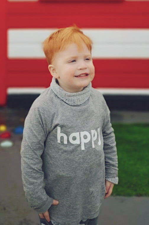 Super Mumm Grey and White Happy Long Sleeved Kids T Shirt