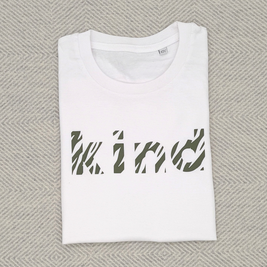 White & Khaki Kind Organic Kids Tee