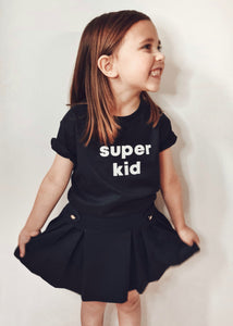 Super Mumma Black Organic Cotton Kids Super Kid T Shirt