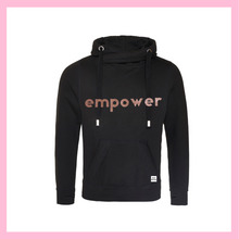 Load image into Gallery viewer, Rose Gold Empower Black Cowl Neck Hoodie