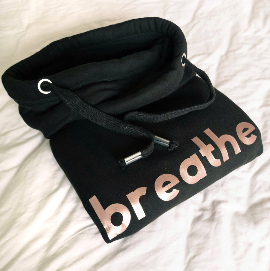Rose Gold Breathe Black Cowl Neck Hoodie