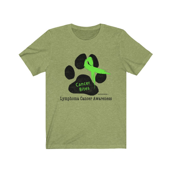Canine Cancer - Paw Print with Green Lymphoma Ribbon - Cancer Bites Unisex T-Shirt