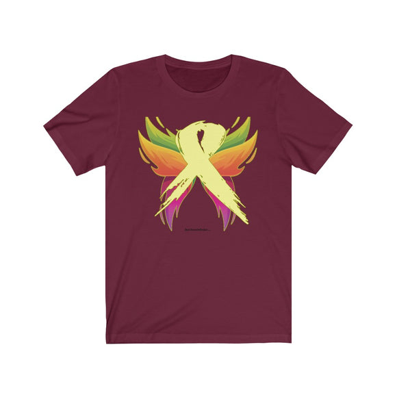 Osteosarcoma Cancer - Yellow Ribbon with Wings - Unisex Cancer Support T-Shirt